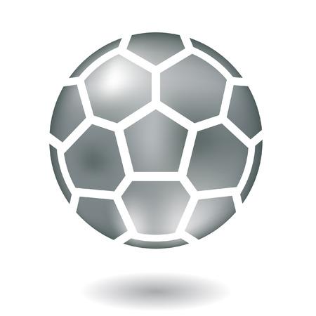 voetbal silhouet: Glanzende lijn kunst metalen voet bal op wit wordt geïsoleerd
