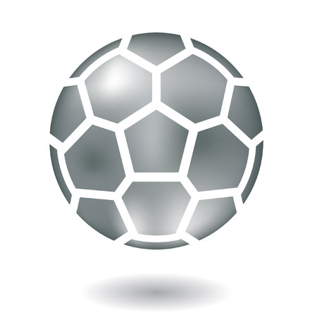 sport logo: Glossy line art metallic football isolated on white Illustration
