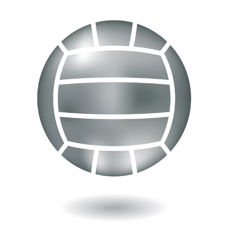 beach volley: Glossy line art metallic volleyball isolated on white Illustration