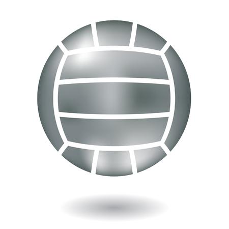 pelota de voley: L�nea brillante arte voleibol met�licos aislado en blanco