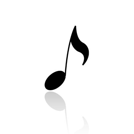 logo music: Black musical note isolated on white Illustration