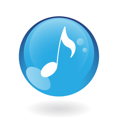 logo music: Glossy musical note in blue button isolated on white