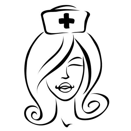 stylized, line art cartoon icon of a nurse Stock Vector - 7276506
