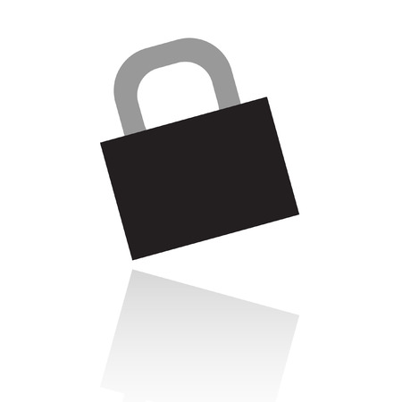 Black locked padlock isolated on white Stock Vector - 7276409