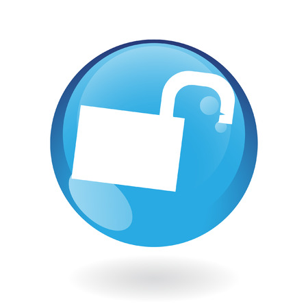 Glossy open padlock in blue button isolated on white Stock Vector - 7276406