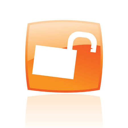 Glossy open padlock in orange button isolated on white Stock Vector - 7276411