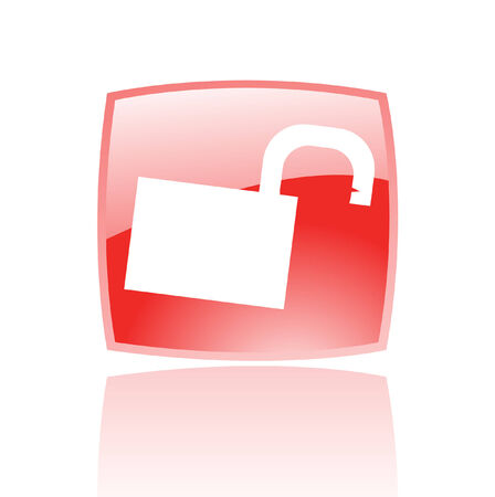 Glossy open padlock in red button isolated on white Vector