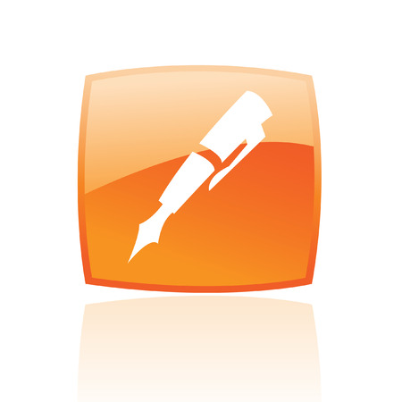 Glossy pen in orange button isolated on white Stock Vector - 7276395