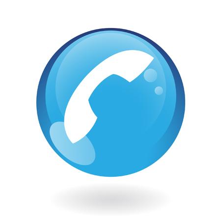hablando por telefono: Tel�fono brillante en bot�n azul aislado en blanco  Vectores