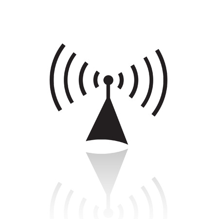 antennas: Black radio isolated on white Illustration
