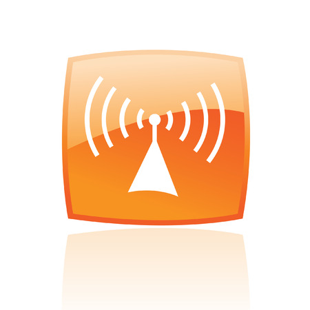 Glossy radio in orange button isolated on white Vector
