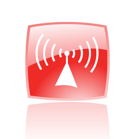 Glossy radio in red button isolated on white Vector