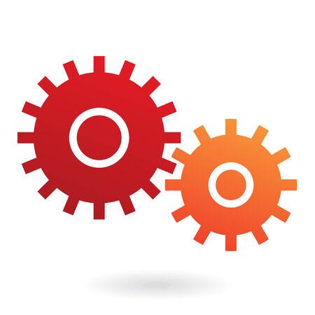 industrial mechanics: Engranajes rojos y naranjas aislados en blanco  Vectores