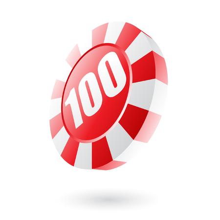 gambling chip: Chip de ruleta rojo aislado en blanco