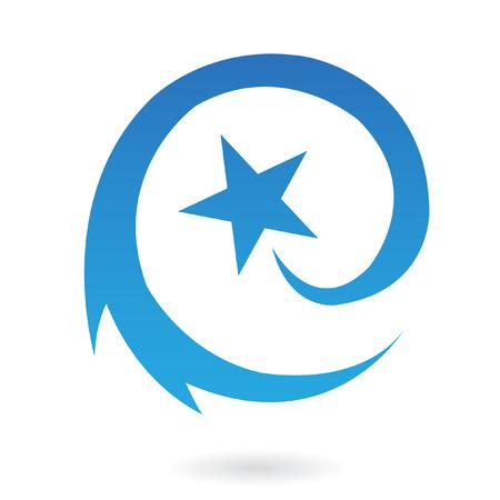 tiro al blanco: Azul una estrella fugaz ronda aislada en blanco