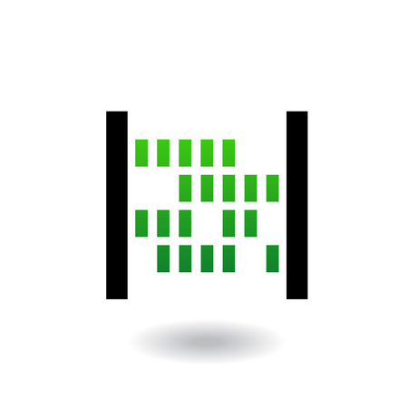 Abacus with green beads and black body isolated on white Illustration