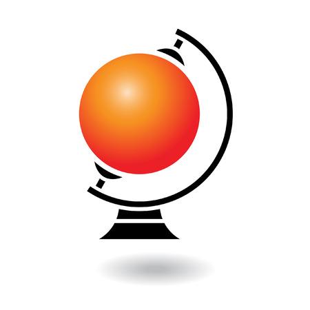 Glossy cartoon orange globe isolated on white Vector