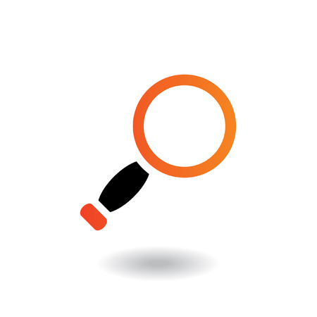 Orange and black magnifier isolated on white Vector