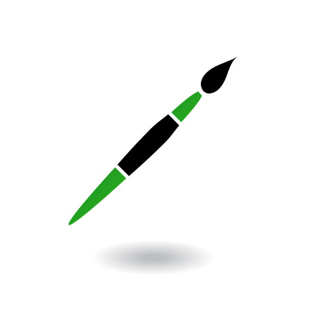 wood craft: Green and black paintbrush isolated on white