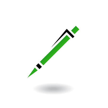 Green and black line art pen isolated on white Stock Vector - 7276419
