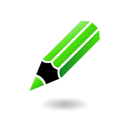 wooden pencil: Green and black pencil isolated on white Illustration