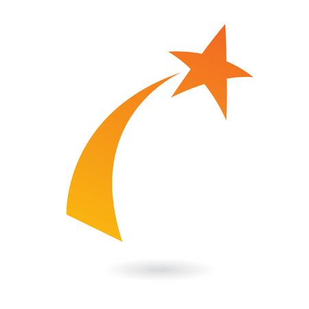 Oranje shooting star op wit wordt geïsoleerd