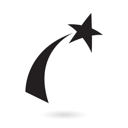 etoiles filante: Black shooting star, isol� sur fond blanc Illustration