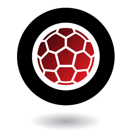 sport logo: Red football in black circle isolated on white