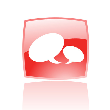 Glossy speech bubbles in red button isolated on white Vector