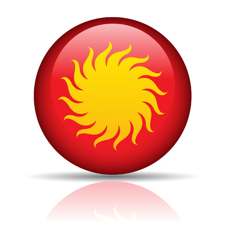 Sun in red button isolated on white Stock Vector - 7276518