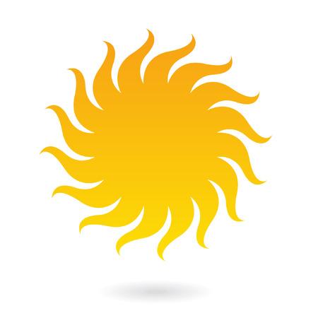 sol caricatura: Icono de Sun aislado en blanco