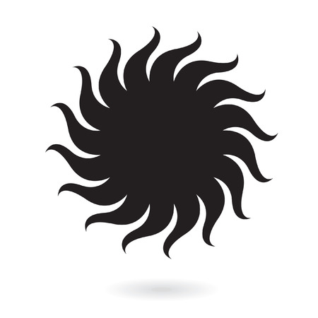 Black sun isolated on white Vector