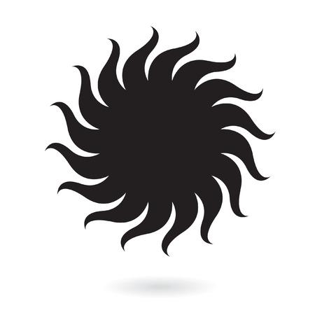 Black sun isolated on white Vector