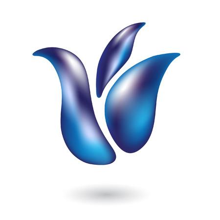 tulipan: Błyszczący tulipan niebieski samodzielnie na biały