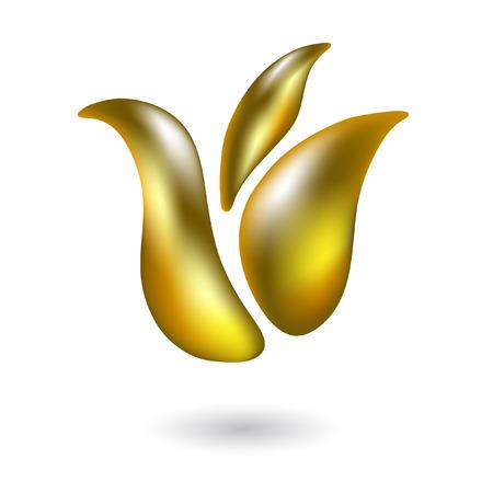 Glanzende gouden tulp op wit wordt geïsoleerd  Stock Illustratie