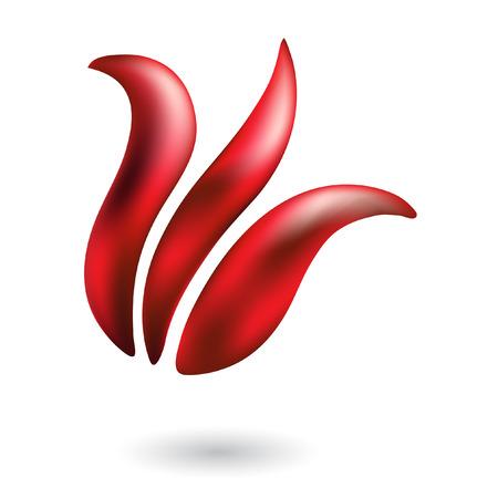 tulipe rouge: Tulipes rouge brillant isol�es sur blanc  Illustration