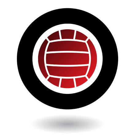 Red volleyball in black circle isolated on white Vector Illustration