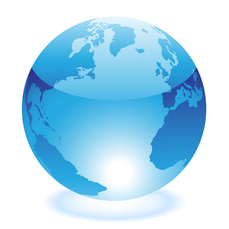 meridiano: Mundo azul brillante, aislado en blanco