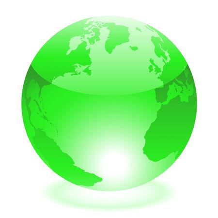 wireframe globe: Glossy green world isolated on white Illustration