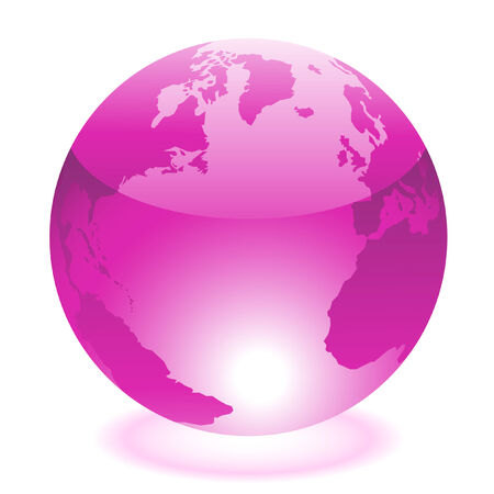 cartoon earth: Glossy purple world isolated on white