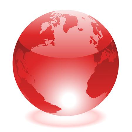 globe logo: Glossy red world isolated on white Illustration