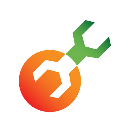 hardware tools: Orange and green wrench isolated on white Illustration
