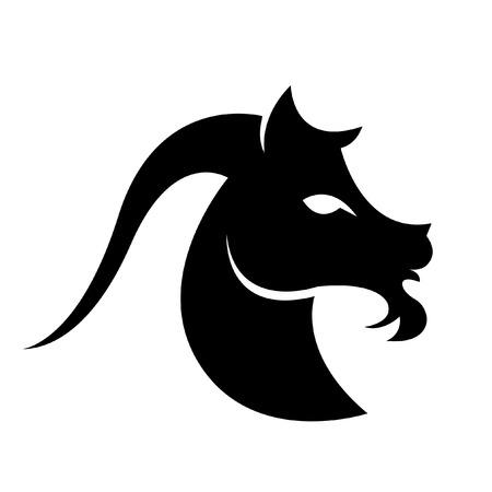 goat capricorn: Black capricorn isolated on white Illustration