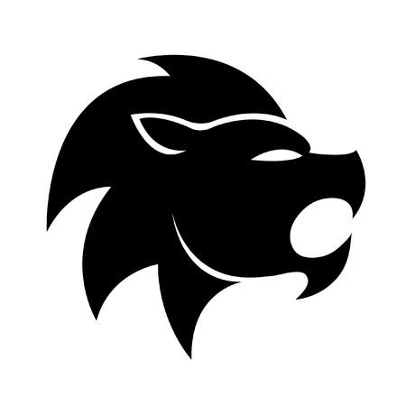 animal logo: Black leo isolated on white