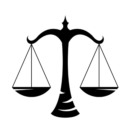 justice scales: Black libra isolated on white