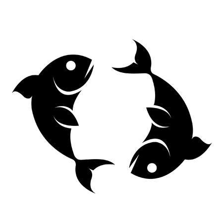 logo poisson: Black pisces isol� sur fond blanc Illustration