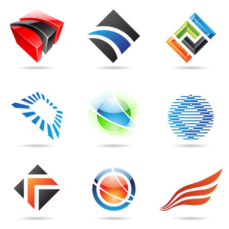 wings logos: Various colorful abstract icons isolated on a white background
