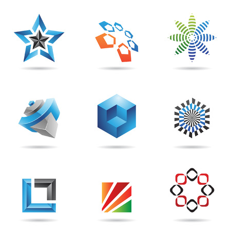star logo: Various colorful abstract icons isolated on a white background
