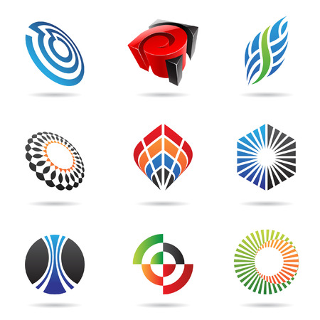 wave crest: Various colorful abstract icons isolated on a white background