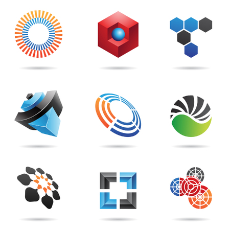 geometria: Varios iconos abstractas coloridos, definir 4